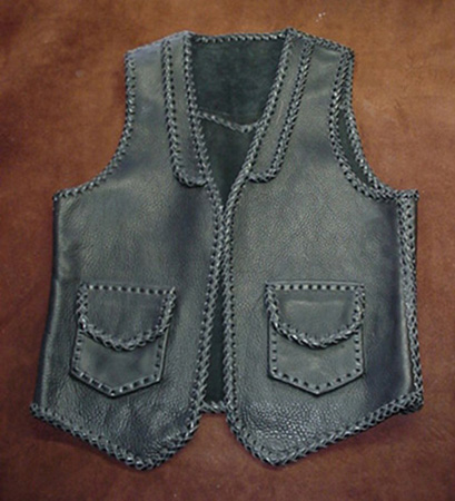 braided leather vests made in the USA with American made leathers