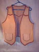 buffalo leather vest with front lapels and large pockets