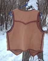 the back yoke of a buffalo leather vest