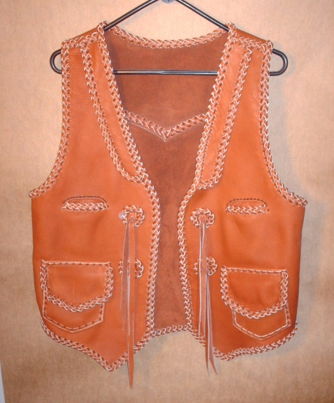 handmade braided leather vest with a zipper closure