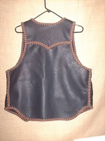 This is a back view of this vest with a good view of it's yoke and back/bottom draft flap.
