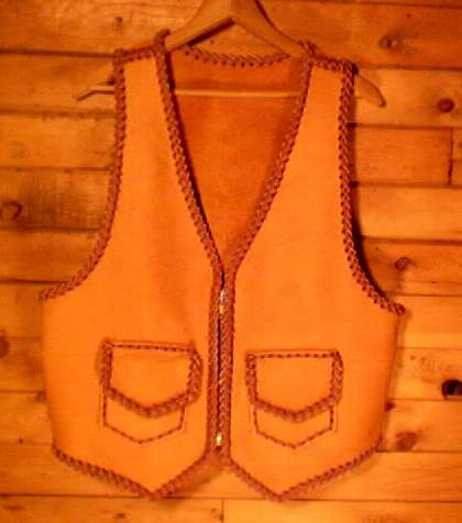 handmade leather vest braided and custom made