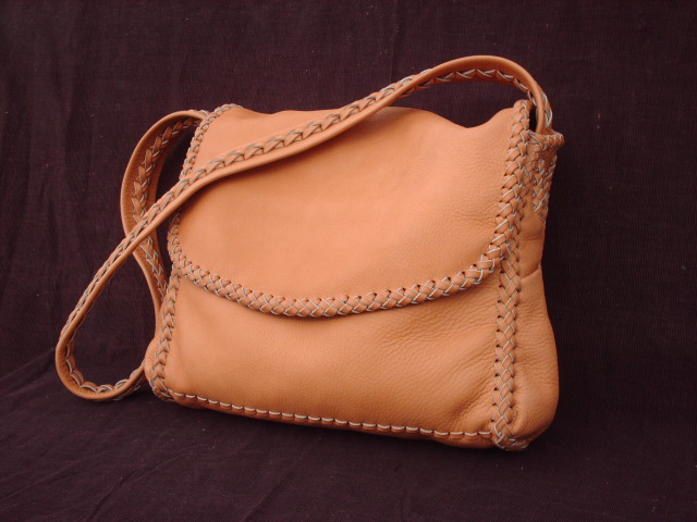 The Dimensions Of This Large Chestnut Colored Moccasin Cowhide Leather Bag Are About 12 5 High