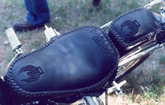 leather motorcycle seat custom braided
