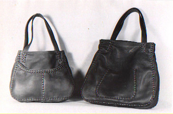 leather tote bags, large and small, custom, handmade, braided