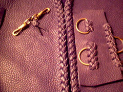 custom made leather vests fasteners using braided leather