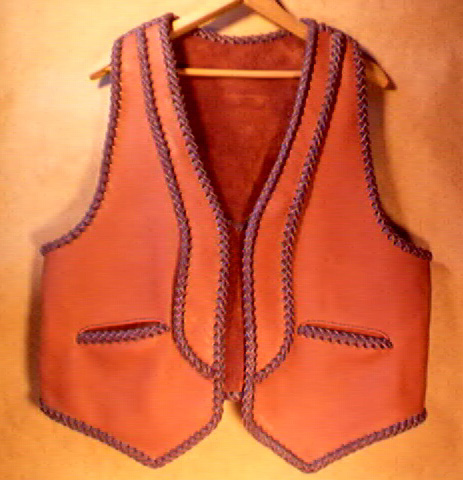 leather vests with lapels custom and handmade using braided leather construction