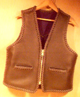 braided leather vest with a zipper closure built using a pattern from a vest that that owner sent me.