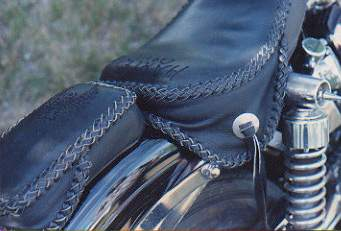 motorcycle seat custom leather braided