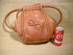 Here the bag is set by a can of cola to help show the size of it.